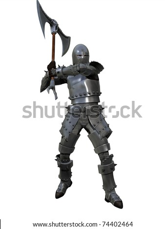 Knight in full armour and chain mail with axe isolated on white