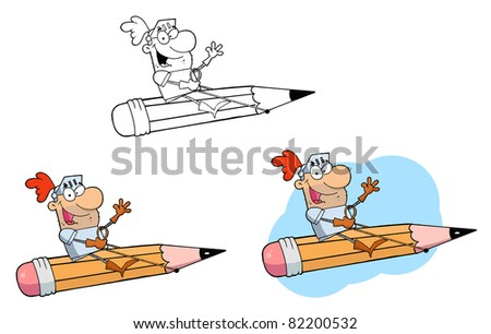Knight on a Pencil.Raster Collection.Vector version is also available