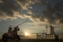 Knight on horseback, castle in background