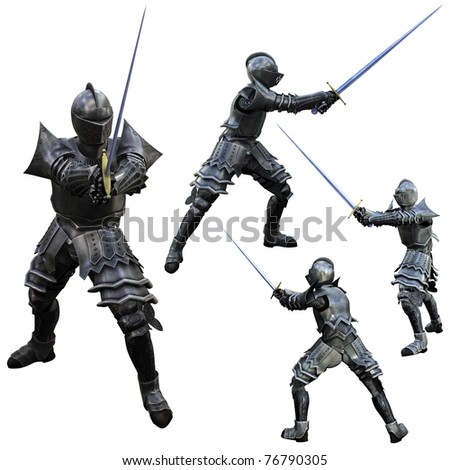 Knight Swordsman in Full Armour, 3D render in multiple views