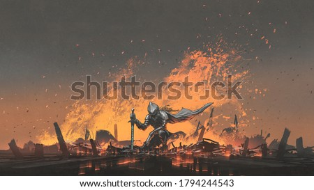 knight with the magic sword sitting on the fire, digital art style, illustration painting Foto stock ©