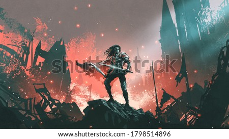 knight with twin swords standing on the rubble of a burnt city, digital art style, illustration painting Foto stock ©