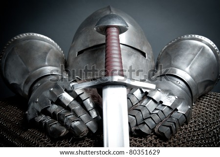 knights armor with helmet, chain mail, gloves and sword