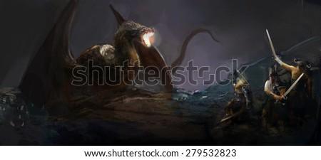 Stock Photo knights hunting dragon on field night