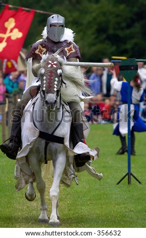 Knights jousting warwick castle England uk - stock photo
