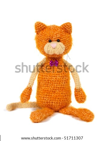 Knitting Pattern For A Toy Cat : Knitted Cat Toy Stock Photo 51711307 : Shutterstock