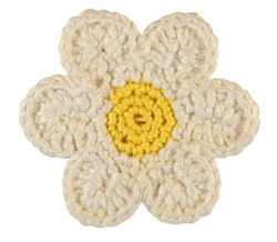Knitted Chamomile Flower Isolated On White Background
