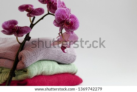 Knitted clothes, handmade, wool, mohair and cotton. Near them are orchids.