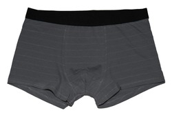 Knitted grey men's underwear with a narrow stripe. Boxer briefs isolated on white background.