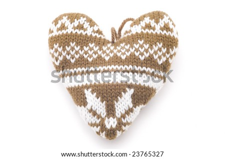 Knitted heart - stock photo