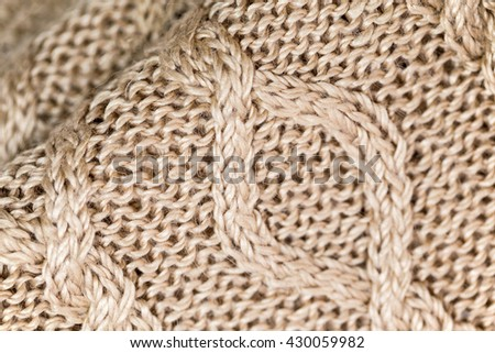 Knitted Norwegian Diagonal Pattern With Front And Reverse Loop