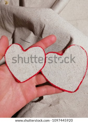 knitted pair of hearts #1097445920