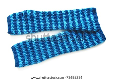 knitted striped mittens on a white background