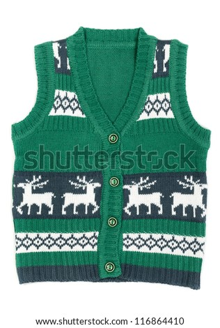 knitted vest with a Christmas ornament (with deer). Isolate on white background.