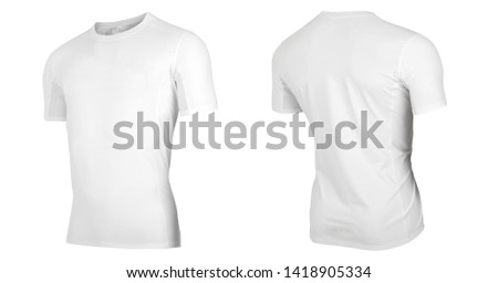 knitted white round neck T-shirt isolated on white background. 3 D view of round neck t shirt.