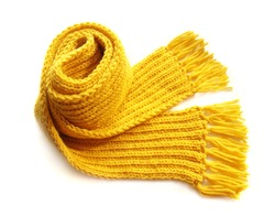 knitted yellow scarf with fringe on white background