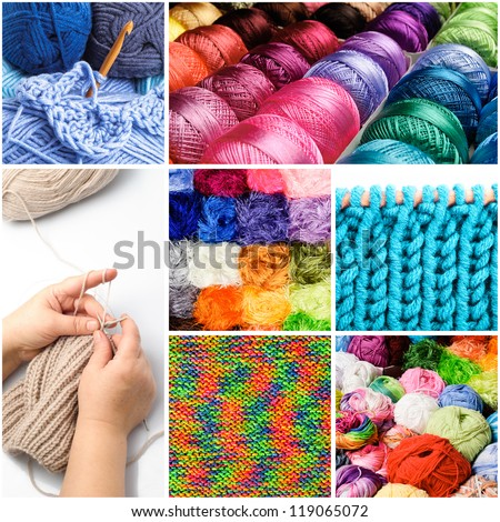 Knitting and crocheting threads in the collage - stock photo