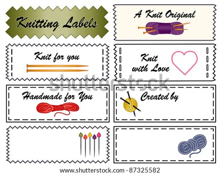stock photo knitting labels collection of eight tags with copy space to customize with your name for knitting 87325582 Knitting Labels