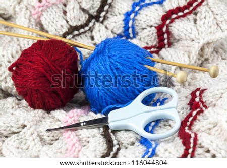 Knitting set with woolen thread, knitting needle and scissors