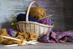 Knitting, tangles yarn, needles and ready-made knitted products, felting yarn