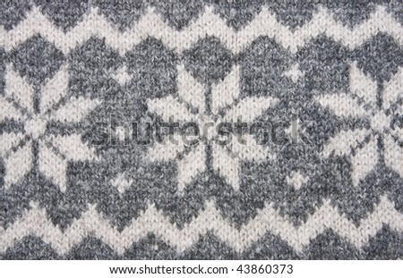 Knitting Texture With White And Grey Ornament. Stock Photo ...