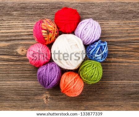 Knitting yarn balls arranged in circular shape