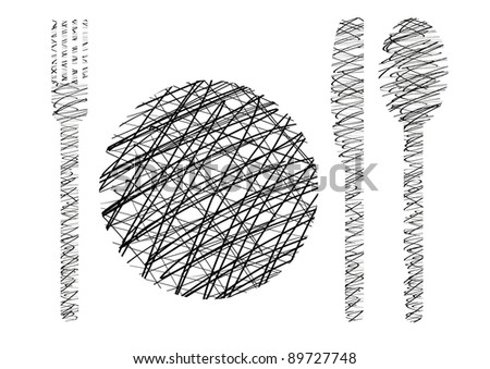 Knives, forks, spoons, plates, hatched - stock photo