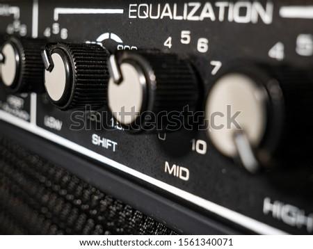 Knob of an amplifier. A close-up shot