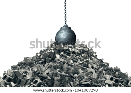 Knocking down and infrastructure makeover concept as a wrecking ball on debris from a destroyed structure as a renewal and renovation symbol with 3D illustration elements. Stockfoto ©