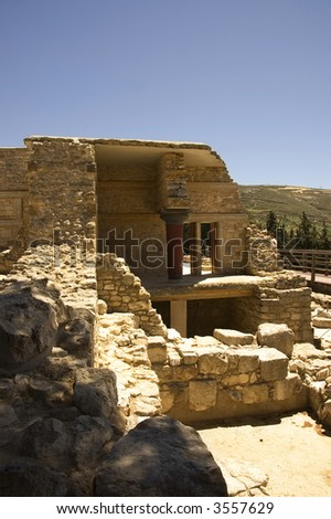 Knossos palace, center of the Minoan civilization and culture at Crete, Greece.- South east side view