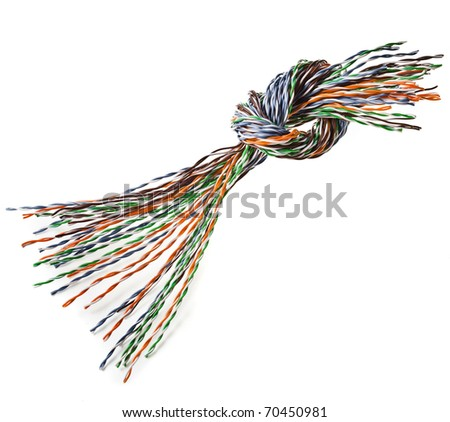 knot colorful electrical wire isolated on white