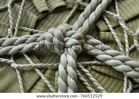 Knotted rope on a sake barrel close up in Jpan ストックフォト ©