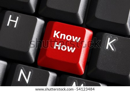 know how knowledge or education concept with red button on computer keyboard