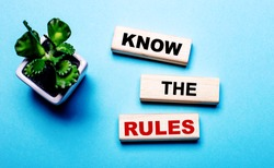 KNOW THE RULES is written on wooden blocks on a light blue background near a flower in a pot