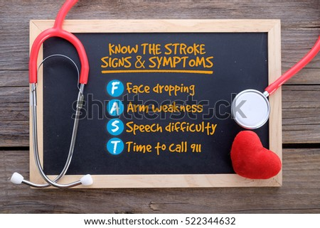 Know the Stroke Signs and Symptoms on chalkboard, general health knowledge concepts #522344632