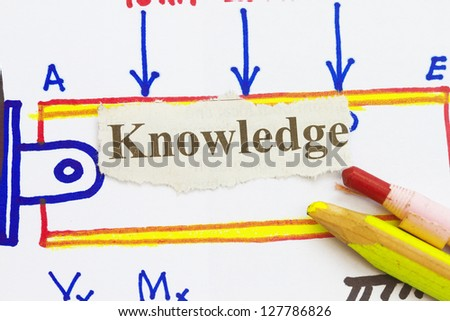 knowledge newspaper cutout with engineering sketch background.
