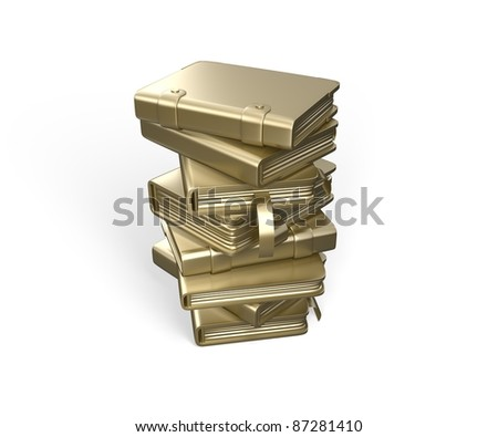 Knowledge - power. Pile of books from gold