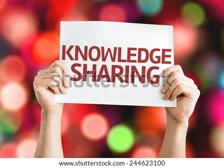 Knowledge Sharing card with colorful background with defocused lights