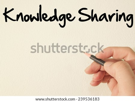 Knowledge sharing  text write on wall