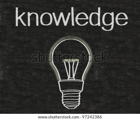 knowledge with light bulb icon written on blackboard background
