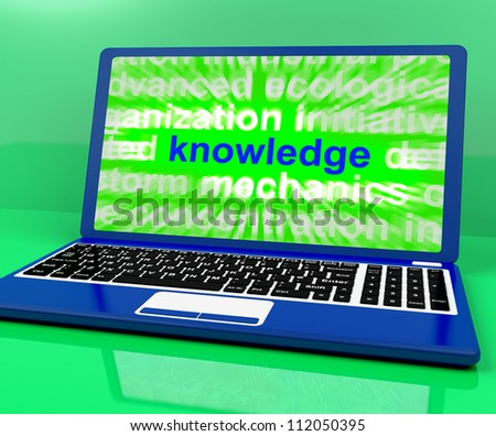 Knowledge Word On Laptop Shows Wisdom And Learning