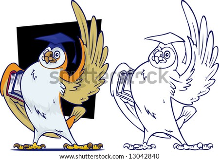 Knowledgeable Owl teacher in front of blackboard. In basic outline and full color.