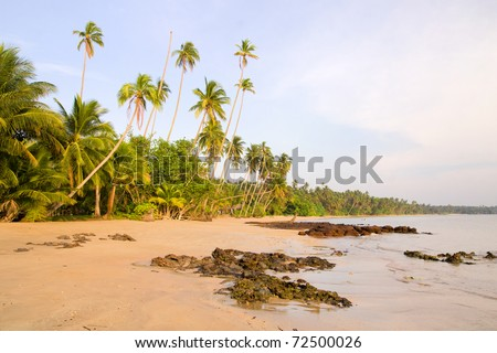 Ko Mak island in Thailand picturesque beach scenery at late afternoon