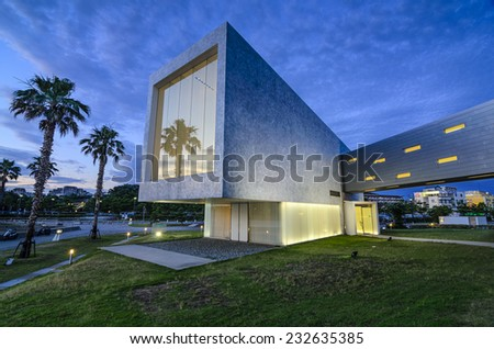 KOBE, JAPAN - JULY 10, 2011: Part of the modern architecture of the Setre Hotel in Maiko Park. The modern hotel features a chapel which is popular for marriage ceremonies.