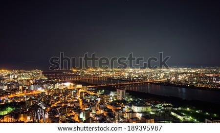 KOBE, Japan Sept 12 2012 : Osaka Japan night landscape at Umeda Sky Building