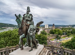Koblenz City Germany historic monument German Corner where the rivers rhine and mosele flow together