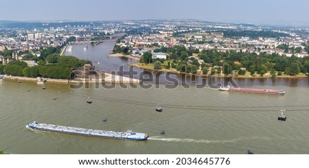 Koblenz Deutsches Eck German Corner Rhine Mosel river panorama with ships boats and cable car in Germany travel Stock foto ©