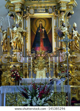 KODEN, POLAND - JUNE 17: Shrine of Koden, inside the historic church of St Anne in Koden in Poland, June 17, 2013.