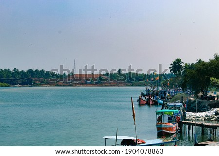 kodi harbour near to kundapur. Very beautiful with blueish sky background which reflects in the water which looks mirror for the sky. Zdjęcia stock ©