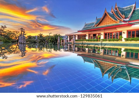 KOH KHO KHAO, THAILAND - NOV 15: Architecture of Andaman Princess Resort & SPA at sunset. Hotel was destroyed by tsunami in 2004 and rebuild, Koh Kho Khao, Phang Nga in Thailand on Nov. 15, 2012.